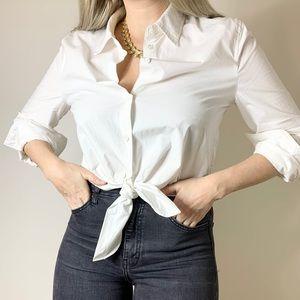 Aritzia Babaton White Cropped Tie Shirt
